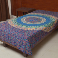 Indian Cotton Single Bed Sheet Blue Color Floral Mandala Print Bedspread Flat Sheet Throw BS17