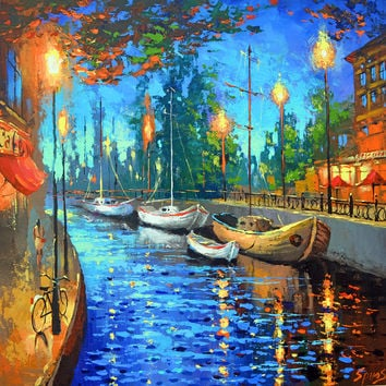 "City OF MY DREAMS - Oil Palette Knife Painting on Canvas by Dmitry Spiros. Size: 32""x32"" (80 cm x80 cm)"