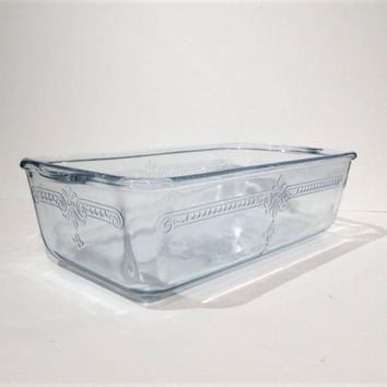 Fire King Blue Sapphire Glass Philbe Casserole Dish, Vintage 40s Fire King Bread or Meatloaf Pan, Fire King Ovenware Blue Glass Baking Dish
