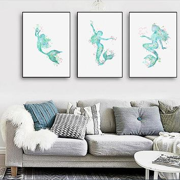 3 Pieces Nordic Mermaid Girl simple spray Painting Printed Canvas love fish frameless Wall Art Pictures no Frame
