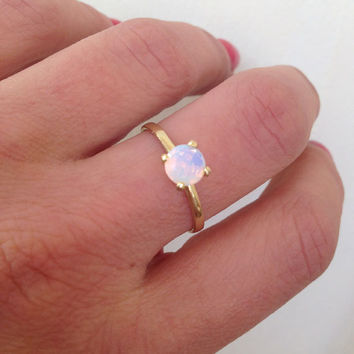 20% off-SALE!! Rainbow Stone Ring - Moonstone Ring - Everyday Jewelry - Vintage Band - Gold Ring - Solitaire Ring - Bridal Ring