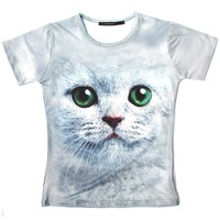 Kitty Cat Big Face Green Eyes Animal Print Graphic Tee T-Shirt in Grey for Women