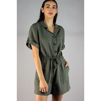 Button front collared cotton linen twill romper