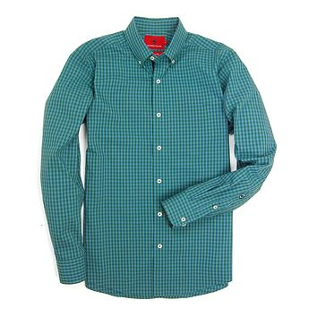 Henning Shirt in Pineneedle & Blue Stone Gingham by Southern Proper