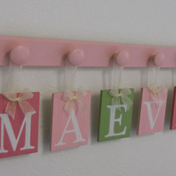Nursery Decorations Wooden Letters. Set Includes 5 Pegs and Custom Baby Name MAEVE Painted Light Green and Pinks Personalized Baby Gift