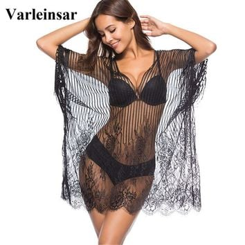 2018 New Sexy Black White Sheer Mesh Knitting Tunic Beach Cover Up Cover-ups Beach Dress Beach Wear Beachwear Female Women V626