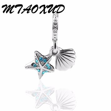 2017 Summer Newest Plated Silver Beads Tropical Starfish & Sea Shell Pendant Charms Fi