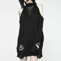Women Sweater Gothic Black Hollow Out Pullover Off The Shoulder