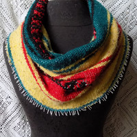 Classic Vintage Rasta Mexican Blanket Small Cowl Scarf- Free Shipping to Continental US
