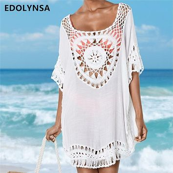e4efb68359 Bamboo Cotton Summer Pareo Beach Cover Up Sexy Swimwear Women Sw