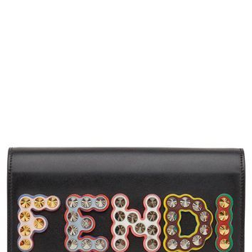 Fendi Studded Logo Leather Wallet on a Chain | Nordstrom