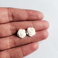White Rose Flower Earrings Post Studs