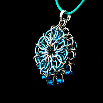 Chainmaille Pendant Medallion Necklace, Blue and Silver, Bead Fringe