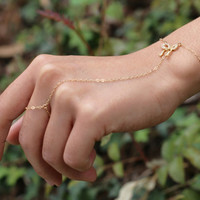 Bow Slave Bracelet - Bow Hand Chain Bracelets in 14K Gold filled and Sterling silver