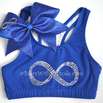 SET Royal INFINITY Sports Bra with Matching Glitter Bow