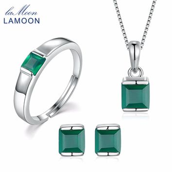 LAMOON Women's Genuine Natural Real Green Agate Chalcedony 3PCS Jewelry Set