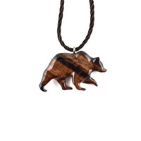 Grizzly Bear Necklace, Bear Necklace, Grizzly Bear Pendant, Mens Necklace, Wood Bear Necklace, Bear Jewelry, Tribal Jewelry, Bear Jewelry