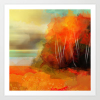 autumnal birch grove Art Print by Andreas Wemmje