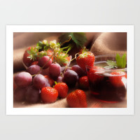 Fresh strawbeerie and Grapes to fall in love with Art Print by Tanja Riedel