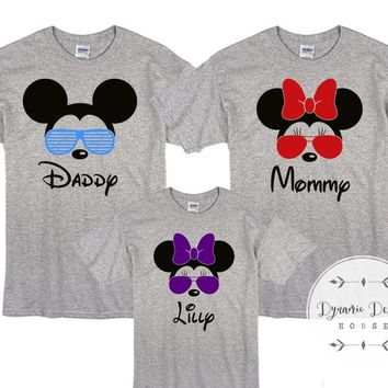 Disney Matching Family Vacation Shirts Mickey Minnie Aviator Style Glasses Personalized