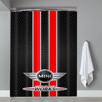 Top Famous Car Mini Cooper Logo Red Stripe Custom Shower Curtain Limited Edition