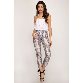 Snake Skin Stretch Pants - Navy
