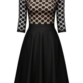 Polka Dot Optical Illusion Casual Swing Dress