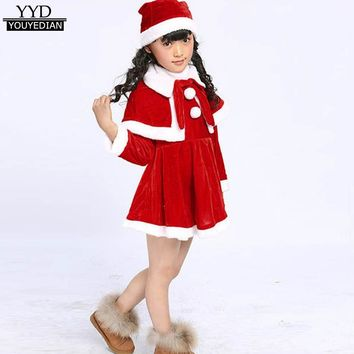 Toddler Children Girls Christmas Clothes For Costume Party Dresses+Shawl+Hat Santa Claus Costumes Mini Dress For Girls #1125