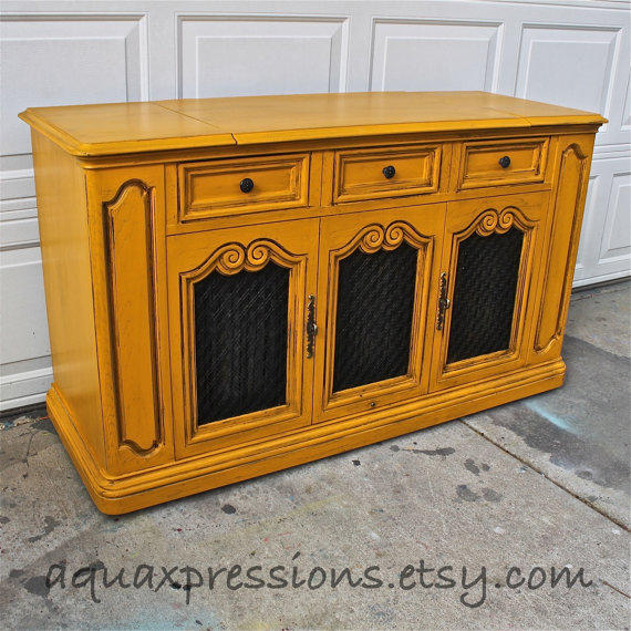 Vintage Stereo Cabinet/ Butternut Squash From