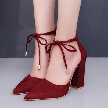 Fashion hot selling women's high heels with pure color pointed toes
