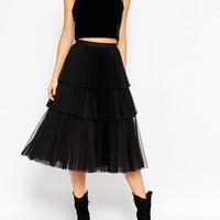 ASOS Halloween Midi Skirt with Mesh Pleated Layers