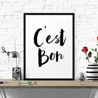 Motivational Poster, C'est Bon, Black And White, French Quotes, Stylish Quotes, Affiche Scandinave, Printable, Typography