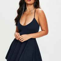Missguided - Navy Scuba Skater Dress