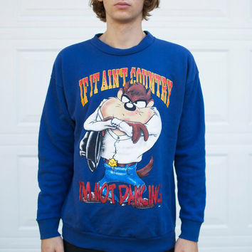 "Vintage Taz ""If It Ain't Country I'm Not Dancing"" Sweatshirt"""