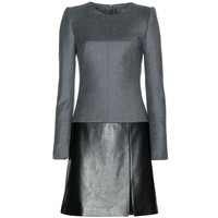 alexander mcqueen - wool and leather dress