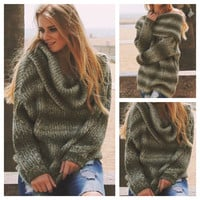 """Don't be Jealous"" Cowl Neck Pepper Knit Olive Oversized Sweater"