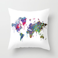 World Map Watercolor Throw Pillow by Bitter Moon