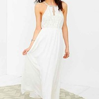 Kimchi Blue Embroidered Bodice Halter Maxi Dress- White