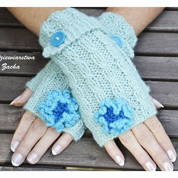 Mint Fingerless mittens with blue flowers, Fingerless mittens ,  gloves, hand knit fingerless mittens fingerless gloves,, knit gloves