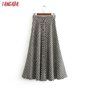 Tangada female plaid midi skirt winter elegant office ladies fashion thick long skirts for women faldas mujer 3H01