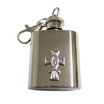 Silver Toned Religious Ichthys Fish and Cross 1 Oz. Stainless Steel Key Chain Flasks