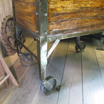 Vintage Industrial Wooden Foundry Cart