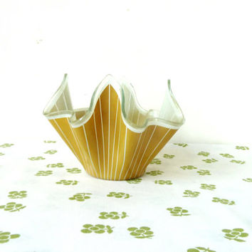 mustard handkerchief vase . CHANCE . stripes . mid century glass
