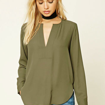 Pleated Split-Neck Blouse