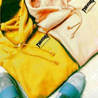 """""""Thrasher""""Quality hooded sweater flame slide hip sweater Letters on the side Yellow"""