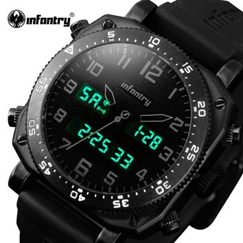 Top Luxury Brand INFANTRY Men Army Military Sports Watches Men's Quartz LED Display Clock Rubber Wrist Watch Relogio Masculino