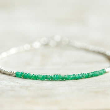 Emerald beaded bracelet with Karen Hill tribe silver beads. Delicate jewelry.