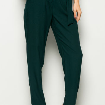 Hunter Green High Waisted Pleated Trousers with Belt