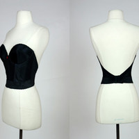 1980's strapless long line bra with deep back, padded molded cup bustier, basque bra, boned corset style waist cinching bodice, 34 C