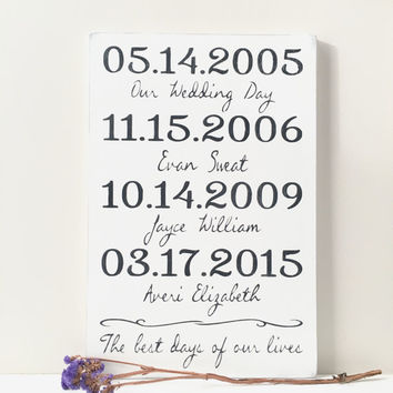 Important Date Sign, 5th Anniversary Gift, Personalized Wedding Gift, Wood Plaque, Custom Date Wood Sign